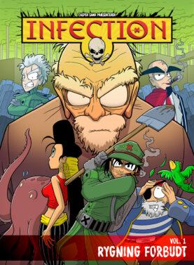 Infection vol. 1 - Rygning Forbudt. Forside til tegneserie. Casper Sand.