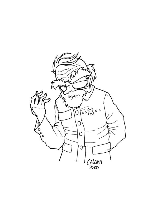 Tegning / illustration gammel mand ser skummel ud.