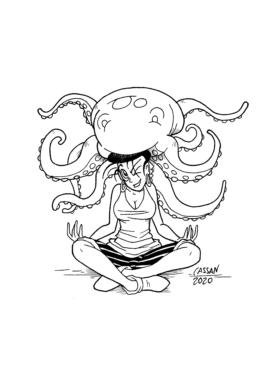 Tegning / illustration kvinde sidder og mediterer mens blæksprutter sidder på hovedet.