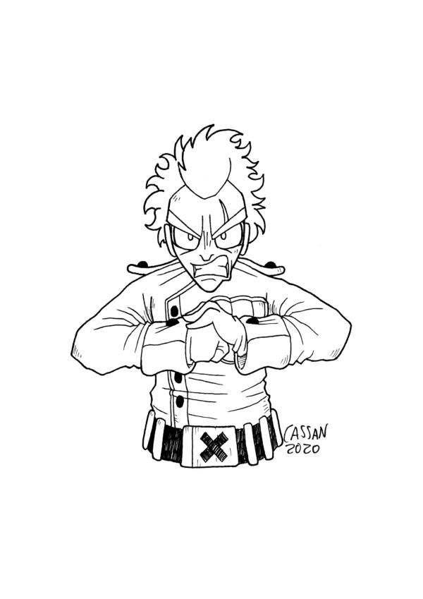 Tegning / illustration soldat viser at han er kampklar.
