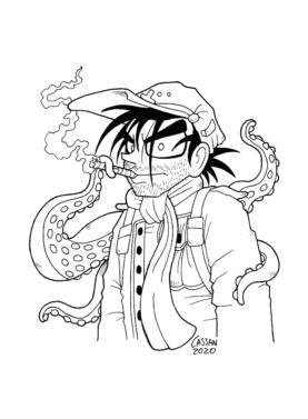 Tegning / illustration soldat ryger cigar, mens blæksprutte hænger på ryggen.