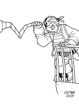 Tegning / illustration sørøver pirate kigger i sin kikkert. Papegøje hænger.