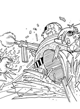 Tegning / illustration pirat hopper gennem tag med dame under armen.