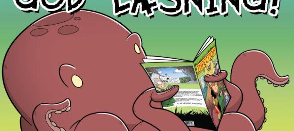 Tegning af blæksprutte læser tegneserien Infection